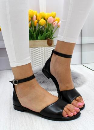 Новые женские кожаные чёрные  босоножки сандали босоніжки