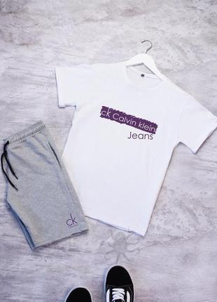 Летний мужской спортивный костюм комплект футболка и шорты calvin klein