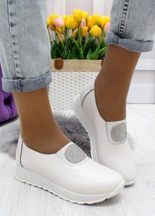 Новые женские кожаные белые мокасины слипоны
