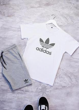 Летний мужской спортивный костюм комплект футболка и шорты adidas