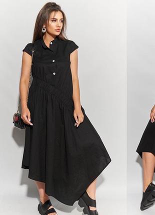 Очень стильное натуральное актуальное платье асимметрия с интересным дизайном из льна
