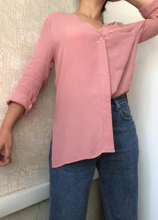 Вискозная рубашка/блузка с v-вырезом в пудровом цвете