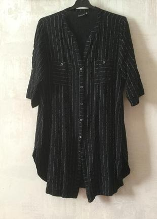 Натуральное платье рубашка удлиненное