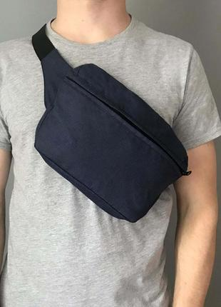 Поясная сумка xl бананка синяя сумка на плече