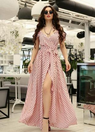 Роскошное макси платье на запах в горошек, рюши, пояс, шик и блеск, роскошь!
