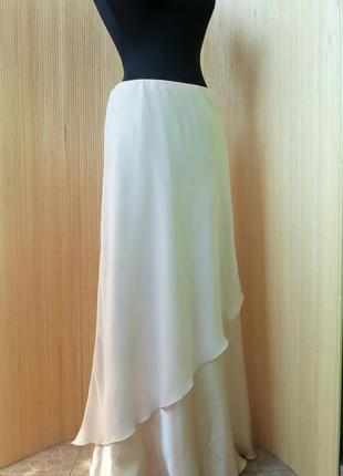 Нарядная золотистая юбка пояс резинка / в пол canda c&a