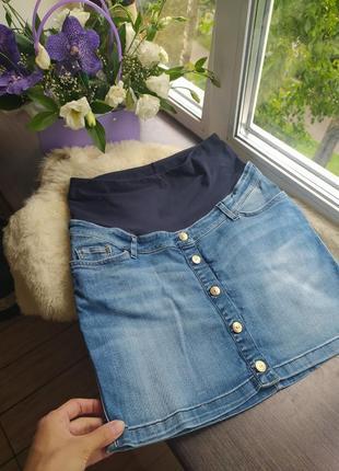 Джинсовая юбка лля будущих мам, для беременных