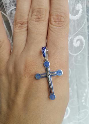 Підвіска хрестик срібний з пластиною золота та ювелірна емаль