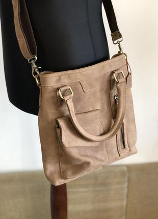 Кожаная сумка органайзер из плотной кожи итальянского качества