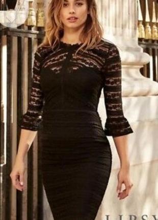 Вечернее винтажное платье миди гипюровое с широкими рукавами lipsy