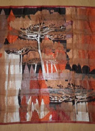 Шикарный винтажный шейный платок шёлк атлас осенний лес 90х90см шов роуль франция