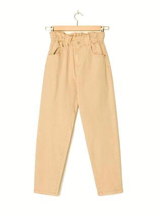 Песочные слоучи момы джинсы с высокой посадкой с подворотами подкатами от bershka