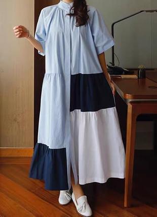 Длинное платье рубашка хлопок
