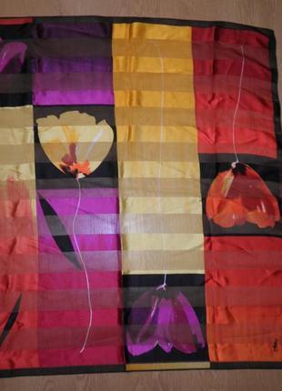 Шикарный винтажный шейный платок шёлк шифон атлас jammers & leufugen 90х88см