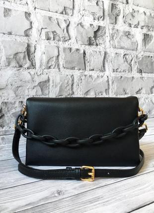 Чёрная маленькая кожаная сумка. летняя сумочка из кожи