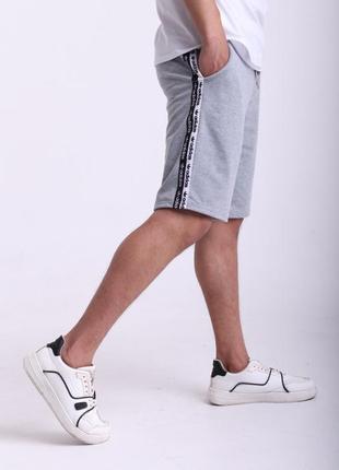 Шорты серые с двойными лампасами adidas duo
