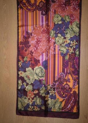Красивый яркий шарф плотный саржевый шелк 156х42см шов роуль франция