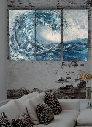 "Интерьерная картина триптих ""волна"", общий размер 60х90 см (3 холста 60х30 см)"
