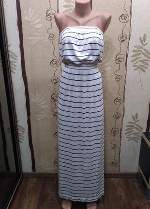 Ocean club. полосатое длинное платье бюстье