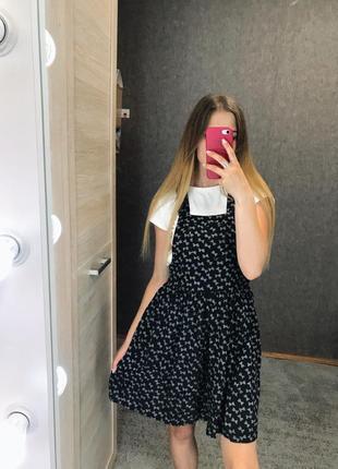 Платье летнее сарафан с бантиками в принт бантиков