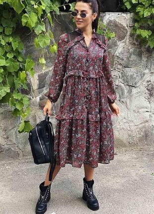 Воздушное платье на пуговицах с оригинальными рюшами