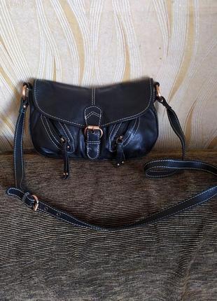Черная кожаная сумка clarks