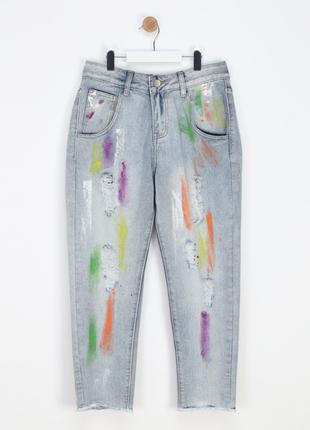 Новые джинсы в краске итальянского бренда fun & fun бойфрендз/мом