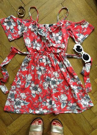 Милое летнее мини платье цветочный принт