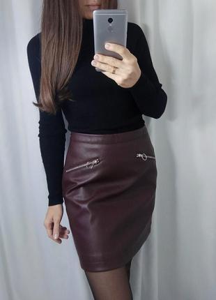 Кожаная юбка бордо
