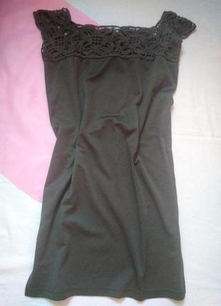 Платье с вязаными вставками (ручная работа)