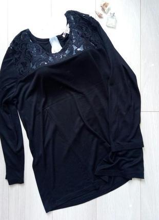 Черная тонкая кофточка, лонгслив, футболка с кружевом anna field
