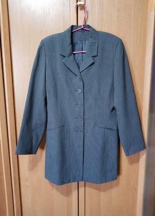 Женский удлинённый пиджак, серый пиджак в белую полосочку, жакет