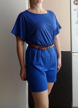 Удобный синий ромпер, комбинезон с шортами, l-xl