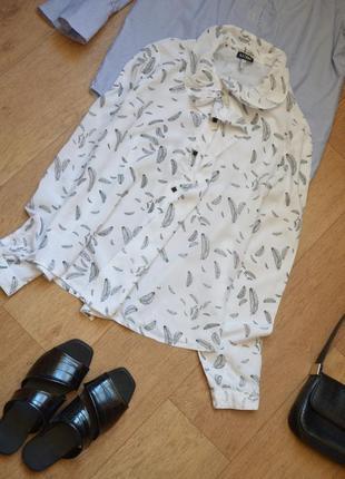 Armani exchange белая блузка рубашка с принтом перья оригинал качественная
