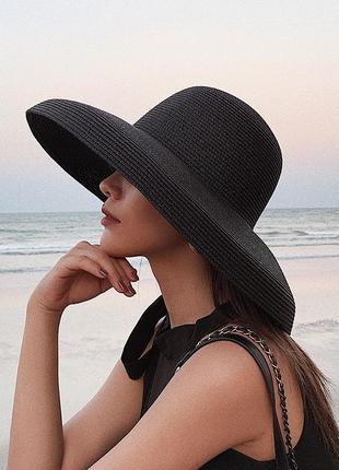 Плетеная соломенная пляжная шляпа чёрная