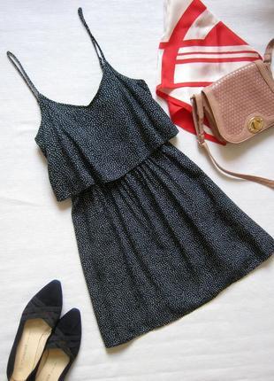 Летнее платье мини / сарафан в горошек из вискозы на невысокий рост