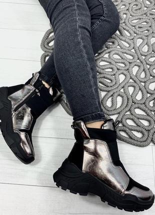 Sale ботинки женские зима чёрный +никель