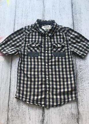 Крутая рубашка тенниска футболка в клетку mitch 5-6 лет