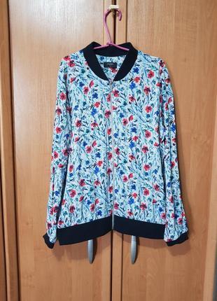 Легкий летний вискозный бомбер, кофта, тонкая легкая кофточка в цветах, блузка