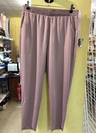 Летние легкие штаны баталы цвет грязно розовый персик1 фото
