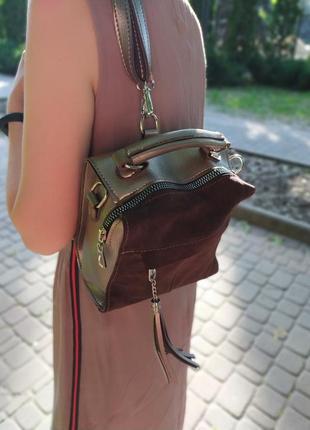 Распрдажа! женская сумка-рюкзак с натуральной замшей, лучшая цена, качество люкс.