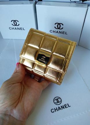 Кожаный женский кошелек мини золотой