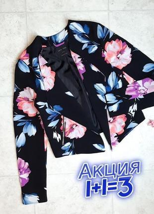 1+1=3 крутой черный женский пиджак в цветочный принт love tree, размер 42 - 44