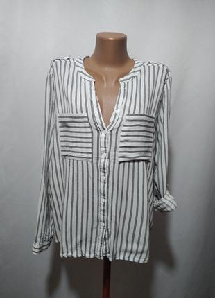 Асимметричная блузка рубашка в полоску