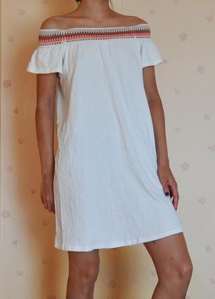 Платье сарафан с открытыми плечами летнее лёгкое новое с биркой мини короткое