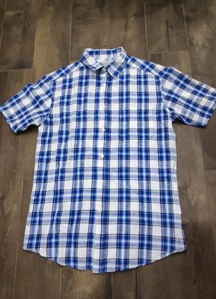 Стильная хлопковая рубашка в клетку от tu, s р. новая!