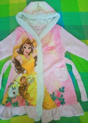 Банный плюшевый халат принцесса на 2-3 года
