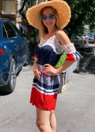 Яркое платье - сарафан с кружевом