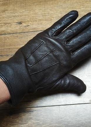 Коричневый перчатки из натуральной мягкой кожи.s/m.