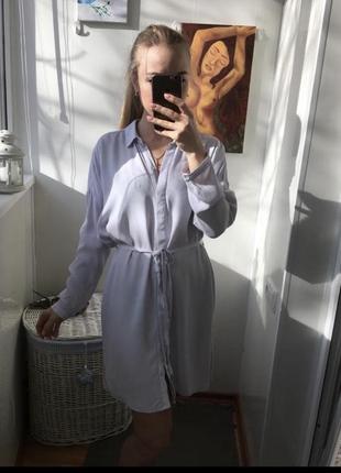 Платье рубашка с поясом небесного цвета topshop